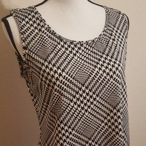 Women M Harringbone Black White Bouse Top